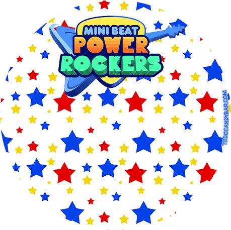 Power Rockers etiqueta con logo