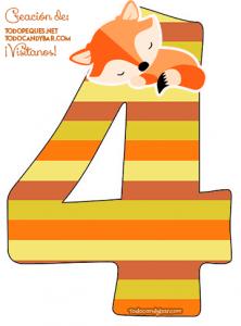 Numero 4 zorrito numbers little fox