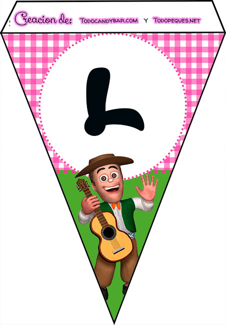 Banderines de La Granja de Zenon para imprimir feliz cumple l