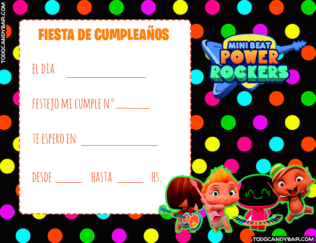 Tarjetas de Cumpleanos de Mini Beat Power Rockers