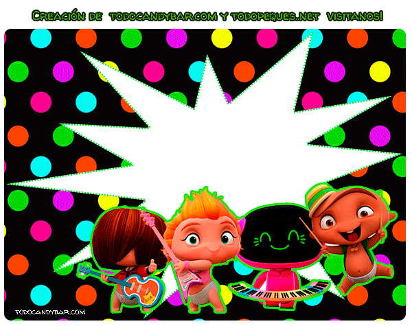 Mini Beat Power Rockers Convite etiquetas stickers