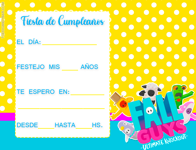Invitaciones cumpleanos Fall Guys
